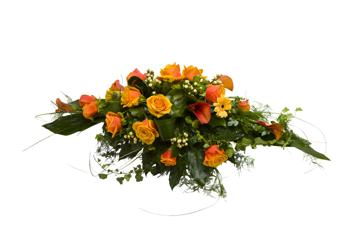 Hautajaiskukat No 3, arkkulaite, oranssi, ruusu